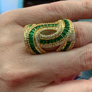 Green Glass, White CZ Goldtone Ring